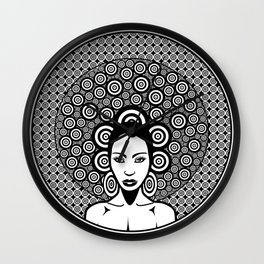 Sixties woman black and white Wall Clock