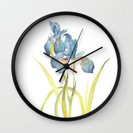 Watercolor flower Iris Siberica Wall Clock
