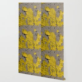 Yellow Peeling Paint on Concrete 2 Wallpaper