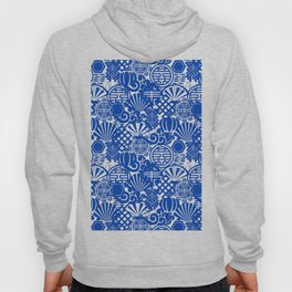 Chinese Symbols in Blue Porcelain Hoody
