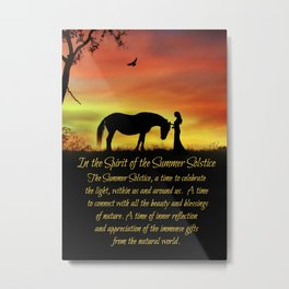 Mid Summer's Eve Litha Summer Solstice Maiden and Horse in The Spirit of the Summer Solstice Metal Print