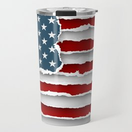 design flag united states of america from torn papers with shadows Travel Mug