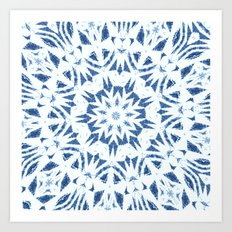Snowflake Denim & White Art Print