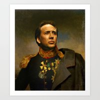 depeche mode Art Prints featuring Nicolas Cage - replaceface by replaceface