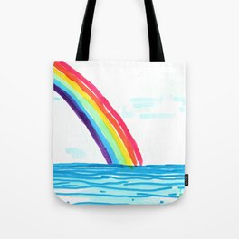 rainbow in the beach Tote Bag