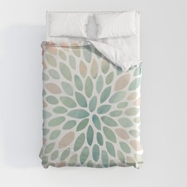 Floral Bloom, Abstract Watercolor, Coral, Peach, Green, Floral Prints Duvet Cover