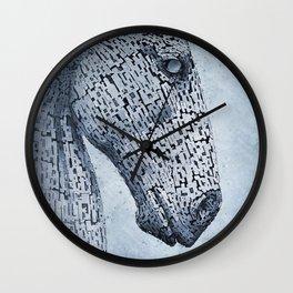 Kelpies in the Rain Wall Clock
