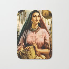 Jesus Helguera Painting of a Mexican Fisher Girl With Basket Bath Mat