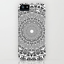 DEEP BLACK AND WHITE MANDALA iPhone Case