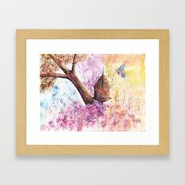 Birdhouse Art Illustration Framed Art Print