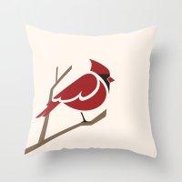 cardinal Throw Pillows featuring Cardinal by Jess Mass Design