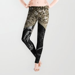Shimmering golden chevron black marble Leggings