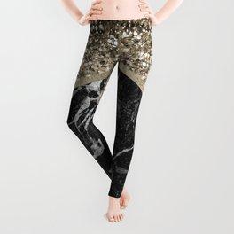 Shimmering golden chevron black marble Leggings