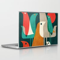 background Laptop & iPad Skins featuring Flock of Birds by Picomodi