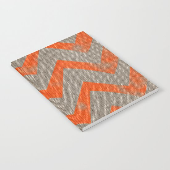 Orange chevron on linen Notebook