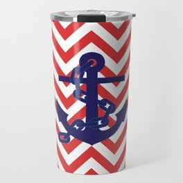 Blue Anchor on Red and White Chevron Pattern Travel Mug
