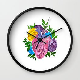 Heart,flowers and colors Wall Clock