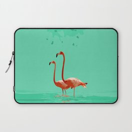 Flamingos on Sea Green Laptop Sleeve