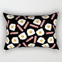 eggs and bacon breakfast food fight apparel and gifts black Rectangular Pillow