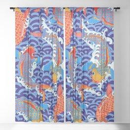 Koi fish / japanese tattoo style pattern Sheer Curtain