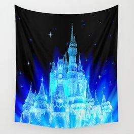 Blue Ice Frozen Enchanted Castle Wall Tapestry
