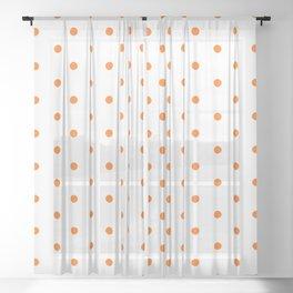 Polka Dots Pattern White and Vivid Orange Sheer Curtain