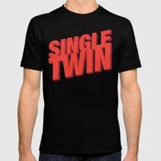Single Twin Mens Fitted Tee MEDIUM Black