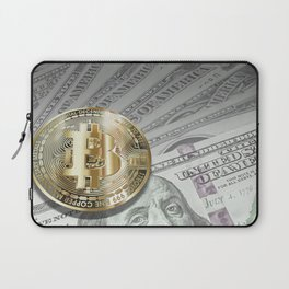 Bitcoin with dollar bills, cryptocurrency concept Laptop Sleeve