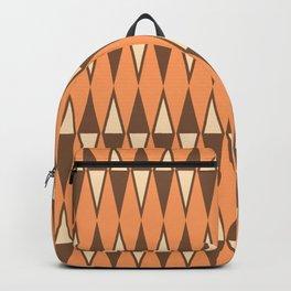 Mid Century Modern Diamond Pattern Brown Orange 231 Backpack