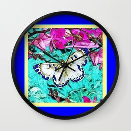 MODERN  PURPLE ORCHIDS & BLUE BUTTERFLY TURQUOISE Wall Clock