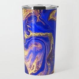 Marble gold and deep blue Travel Mug