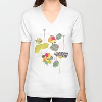 lotus flower V-neck T-shirts featuring Lotus by Ferntree Studio