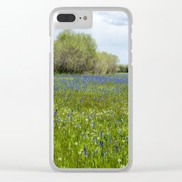 Field of Camas and Dandelions, No. 1 Clear iPhone Case