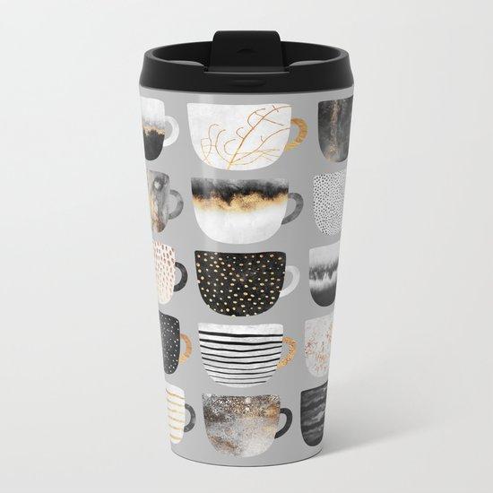 Pretty Coffe Cups 3 - Grey Metal Travel Mug