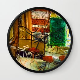 Saeki Yuzo Cafe Terrace with Posters Wall Clock