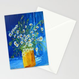 Daisies by the blue wall  Stationery Cards