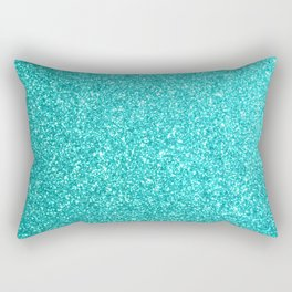 Aqua Blue Glitter Rectangular Pillow