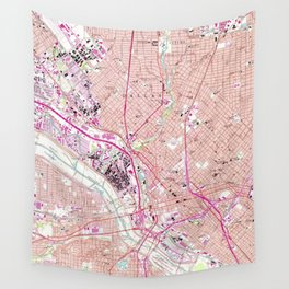 Vintage Map of Dallas Texas (1958) Wall Tapestry