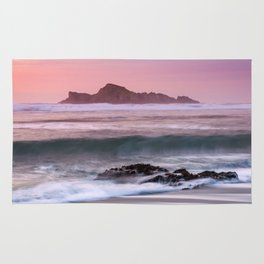 Waves Break at Cape Blanco State Park during Sunset Rug