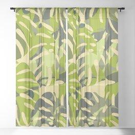 Tropical Monstera leaves yellow Sheer Curtain