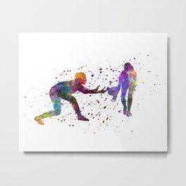 Woman Rugby 02 in watercolor Metal Print