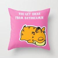 garfield Throw Pillows featuring Daydream Nimbus - Garfield Tribute by PaulusHyu