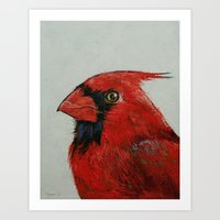 cardinal Art Prints featuring Cardinal by Michael Creese