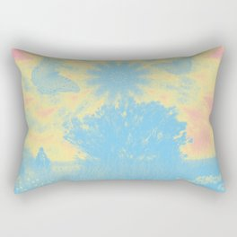 Surreal butterflies and landscape on mandala Rectangular Pillow