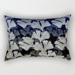 Ginko Leaves Indigo and Tea Pattern Rectangular Pillow