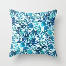 Garden Leaves in Aqua, Turquoise and Cobalt Blue Throw Pillow