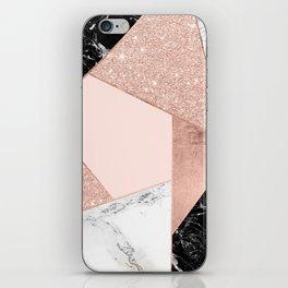 Modern rose gold glitter black white marble geometric color block iPhone Skin
