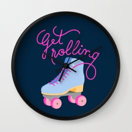 Get Rolling (Navy Background) Wall Clock