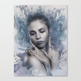 Woman & butterfly Canvas Print