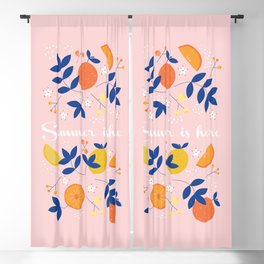 Summer is here - fruit and typography Blackout Curtain